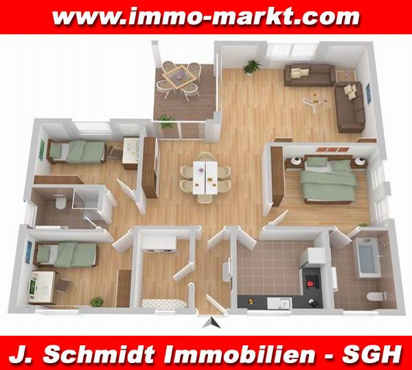 3d grundriss bungalow mit garage  FIBAV Winkelbungalow Bernburg - Wfl.: ca. 119 m²