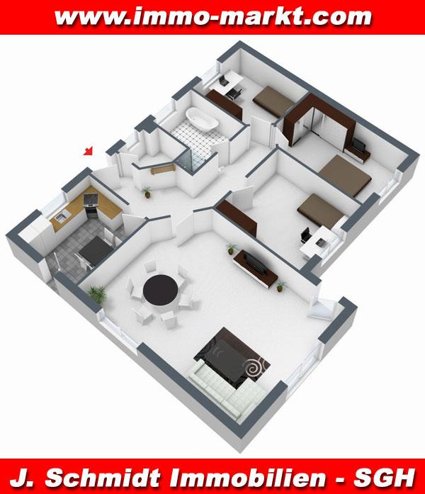Moderne häuser grundriss 3d  FIBAV Winkelbungalow Dessau - Wfl.: ca. 122 m²