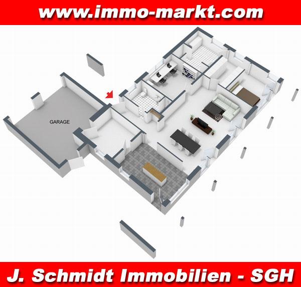 3d grundriss bungalow mit garage  FIBAV Bungalow Weimar - Wohnfläche: ca. 132 m²