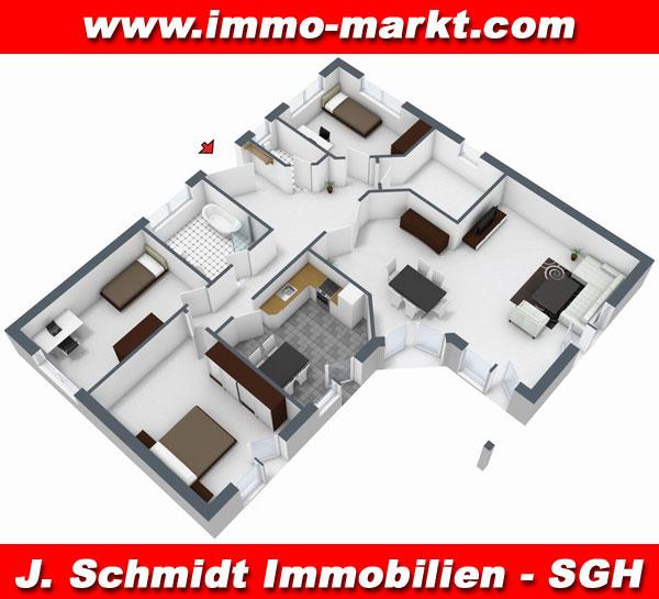 3d grundriss bungalow mit garage  FIBAV Winkelbungalow Schwerin - Wfl.: ca. 150 m²