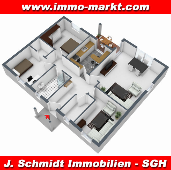 3d grundriss bungalow mit garage  FIBAV Bungalows Edition Classic - Wfl.: ab ca. 81 m²